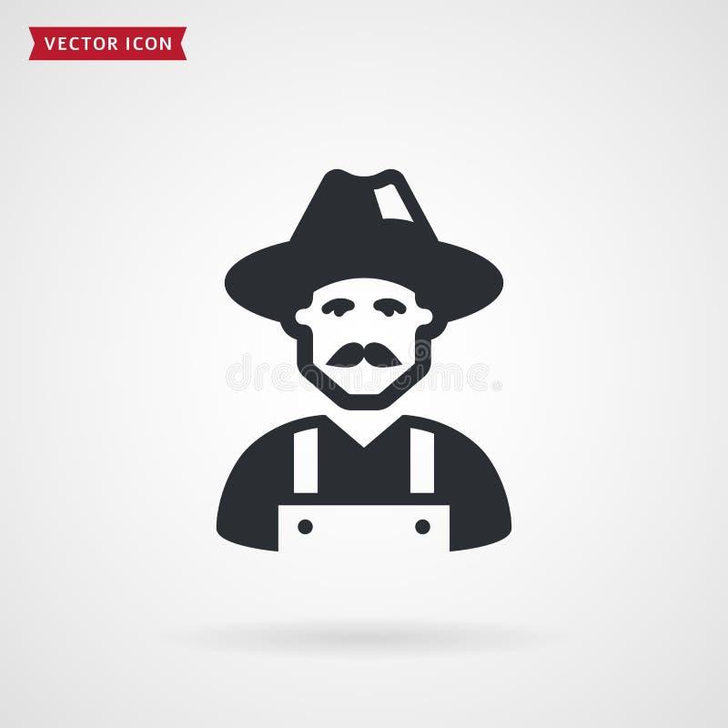 Landbouwers zwart pictogram Vector symbool vector illustratie