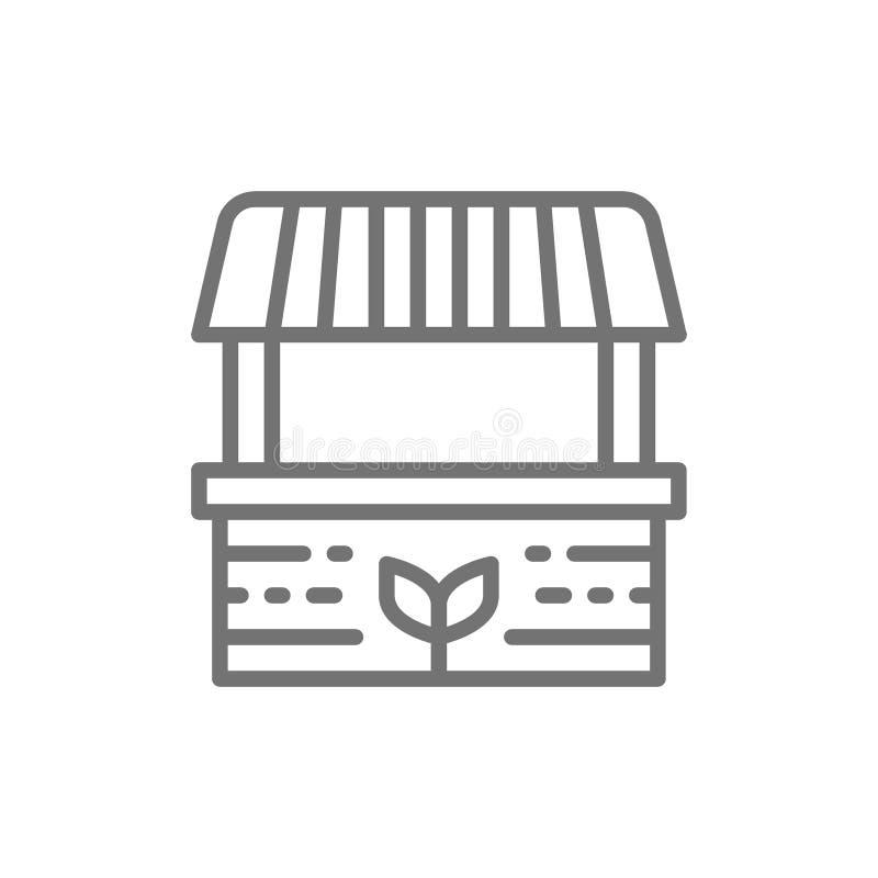Landbouwersbox, voedselmarkt, gestreept afbaardend lijnpictogram royalty-vrije illustratie