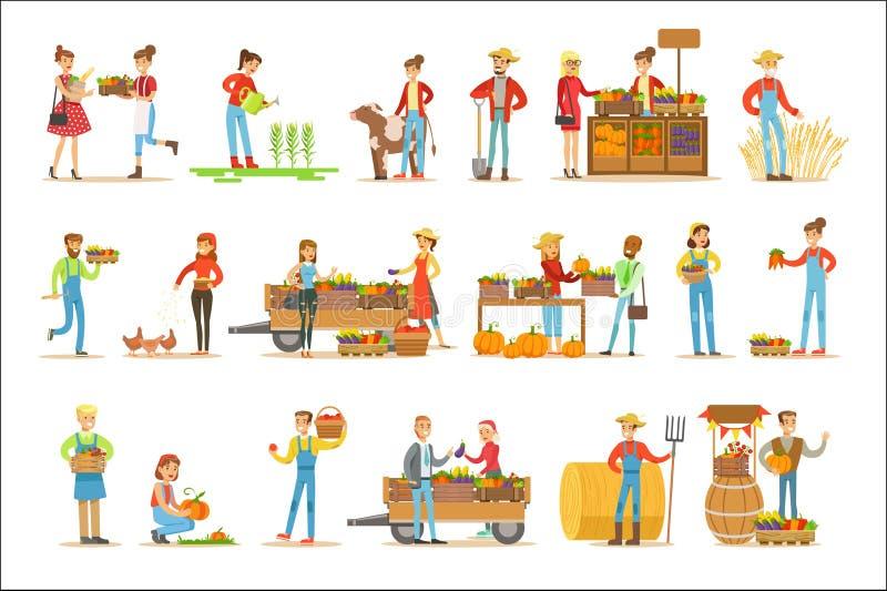 Landbouwersmannen en Vrouwen die bij het Landbouwbedrijf en de Verkopende Verse de Landbouwgroenten aan Natuurlijke Biologisch pr royalty-vrije illustratie
