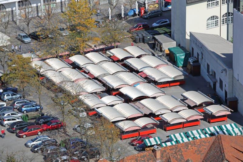 Landbouwersmarkt Ljubljana stock afbeeldingen