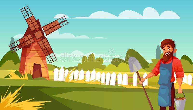 Landbouwersmens bij landbouwbedrijf vectorillustratie royalty-vrije illustratie