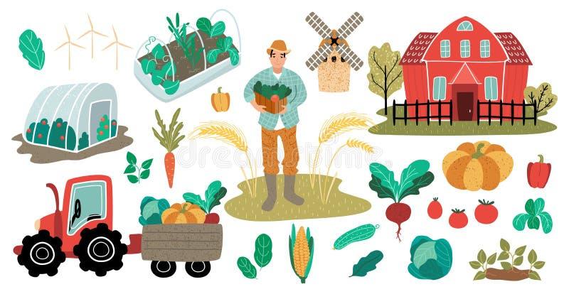 Landbouwersmens met het rode huis van het oogstlandbouwbedrijf met serre en moestuin Tractor met aanhangwagen en gewas Vector vector illustratie
