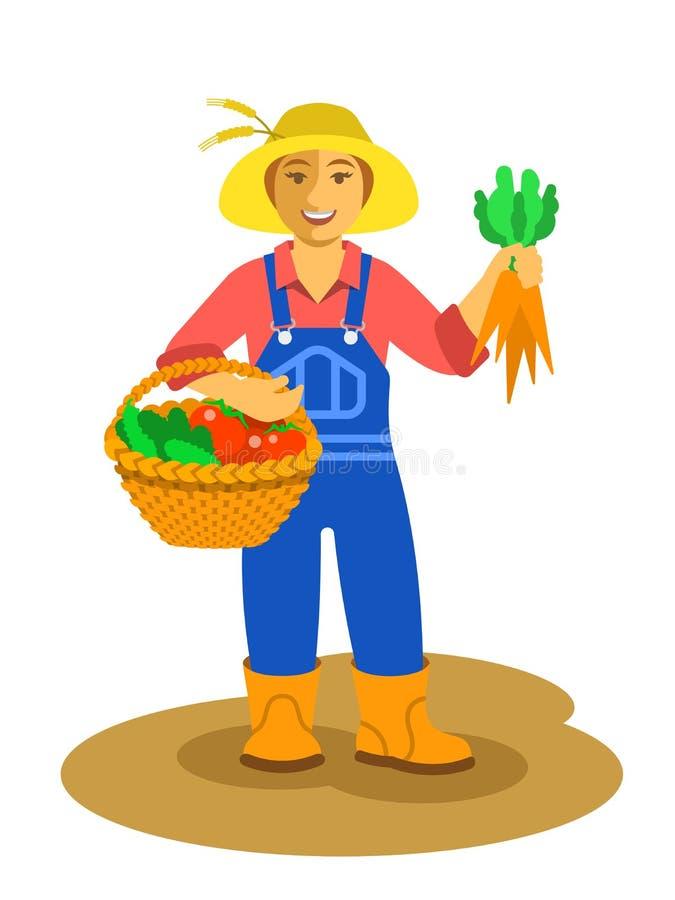 Landbouwersvrouw die zich met groentenoogst bevinden royalty-vrije illustratie