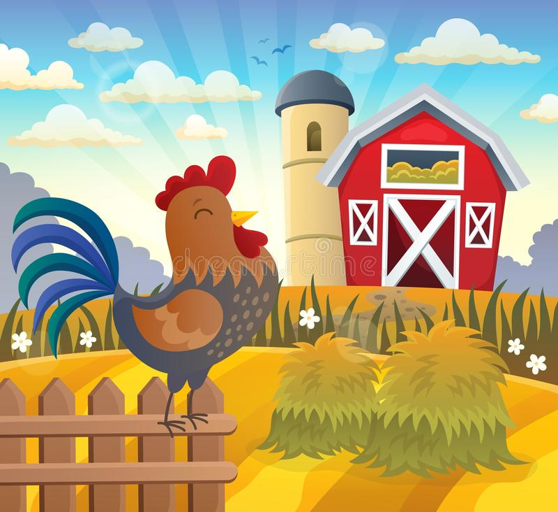 Landbouwgrond met haan op omheining vector illustratie