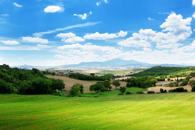 Landbouwgrond in Toscanië royalty-vrije stock afbeelding