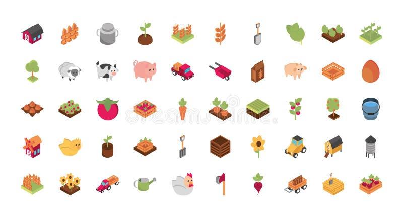 Landbouwhuisveoogsten Landbouw Iometrische pictogrammen op het platteland stock illustratie