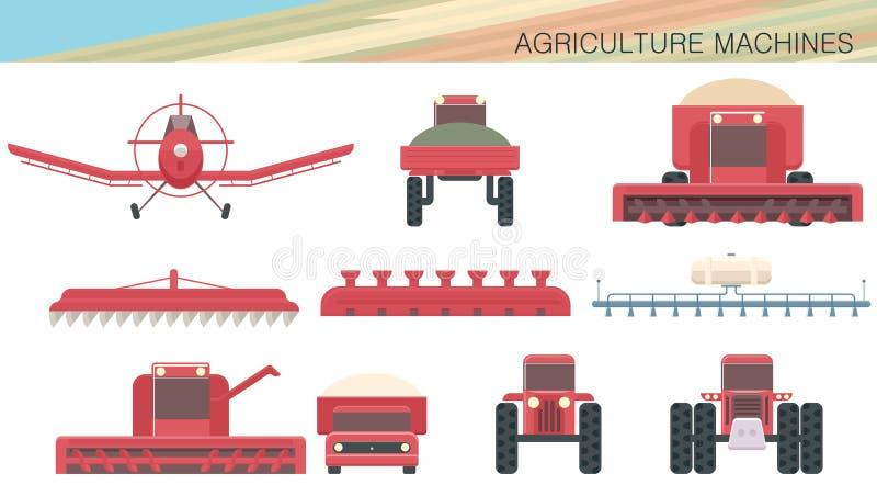 Landbouwmachines en luchtvaart royalty-vrije illustratie