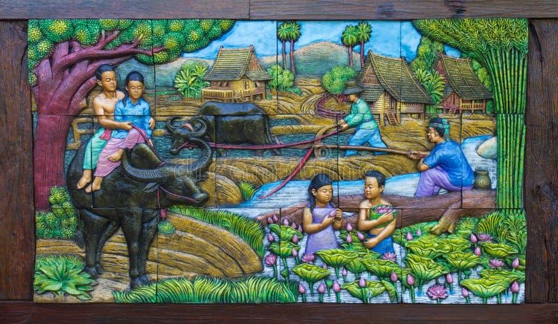 Landbouwmuurschilderingen Thailand stock fotografie