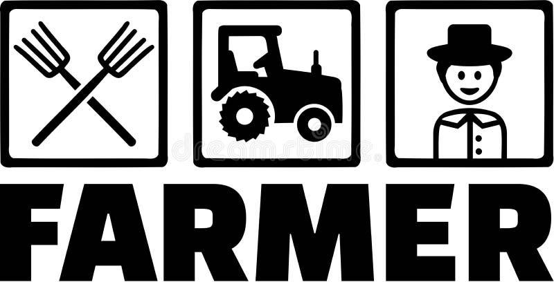 Landbouwobjecten Landbouwer Tractor Pitchfork stock illustratie