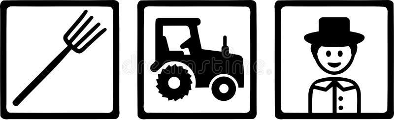Landbouwobjecten Landbouwer Tractor Pitchfork vector illustratie
