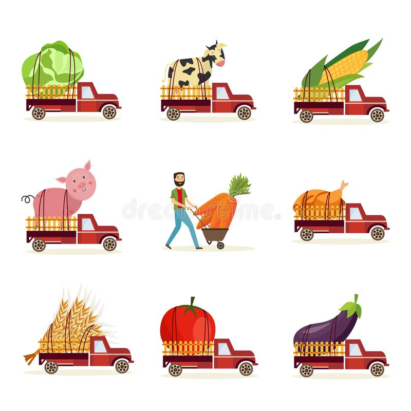 Landbouwoogst en levering van verse die natuurvoeding met buitengewoon brede landbouwproducten wordt geplaatst royalty-vrije illustratie
