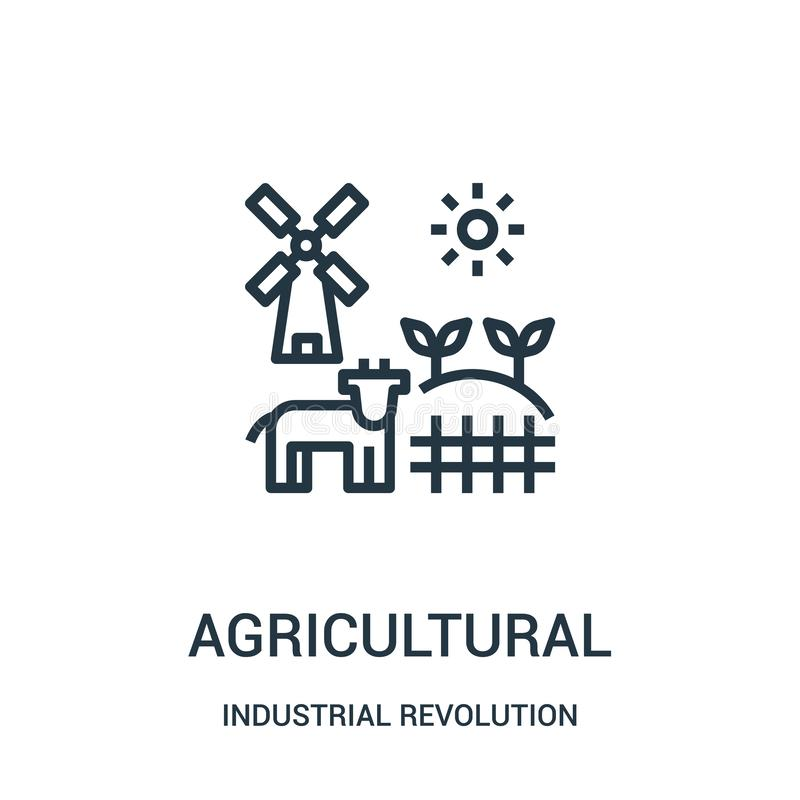 landbouwpictogramvector van industriële revolutieinzameling Dunne het pictogram vectorillustratie van het lijn landbouwoverzicht stock illustratie