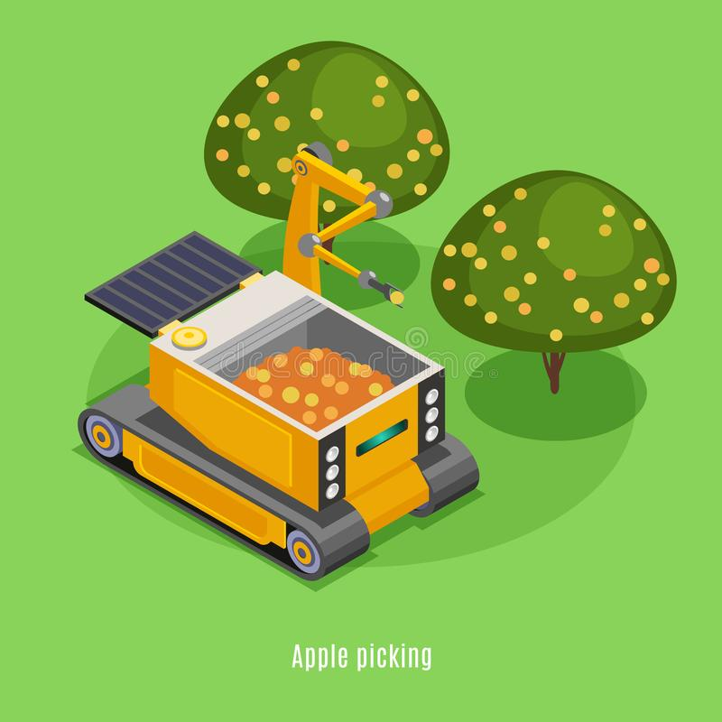 Landbouwrobots Isometrische Achtergrond stock illustratie