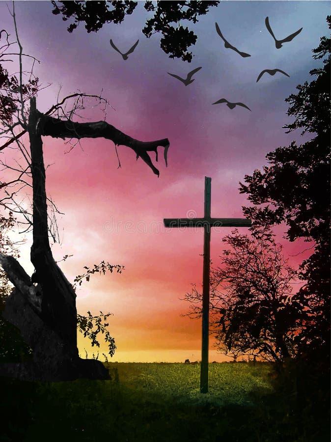 Landcape di Halloween con l'albero trasversale e rotto royalty illustrazione gratis