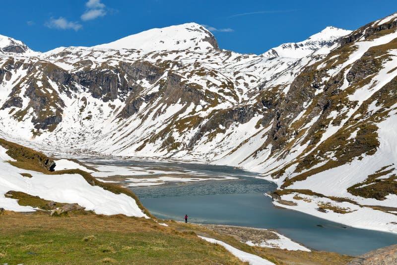 Landcape do lago mountain Estrada alpina alta de Grossglockner em Áustria fotografia de stock royalty free