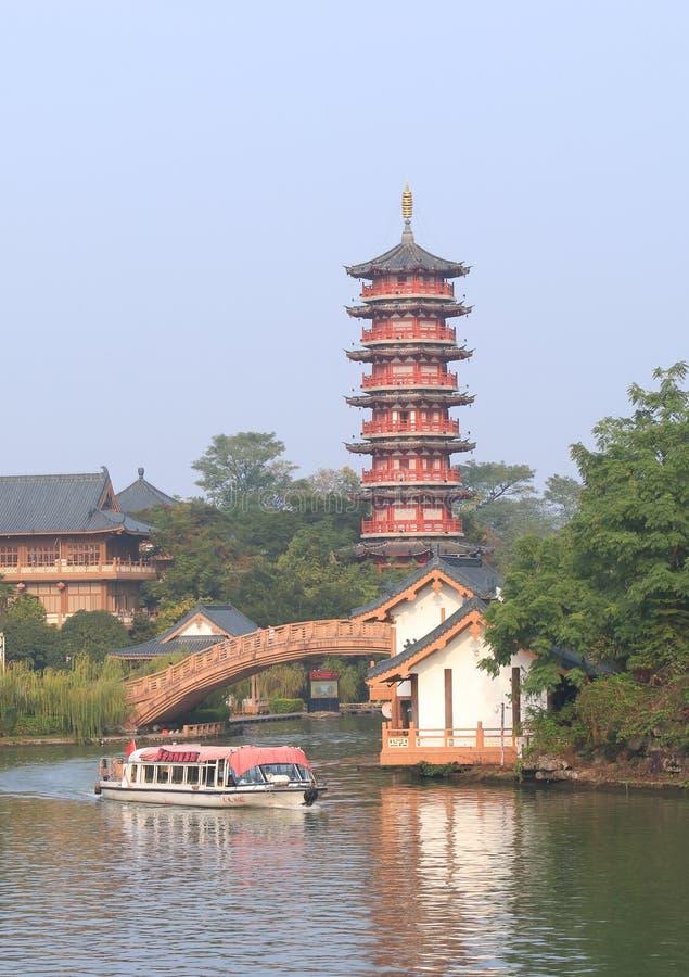 Landcape doblado Guilin China de la pagoda de la colina del brocado imagenes de archivo