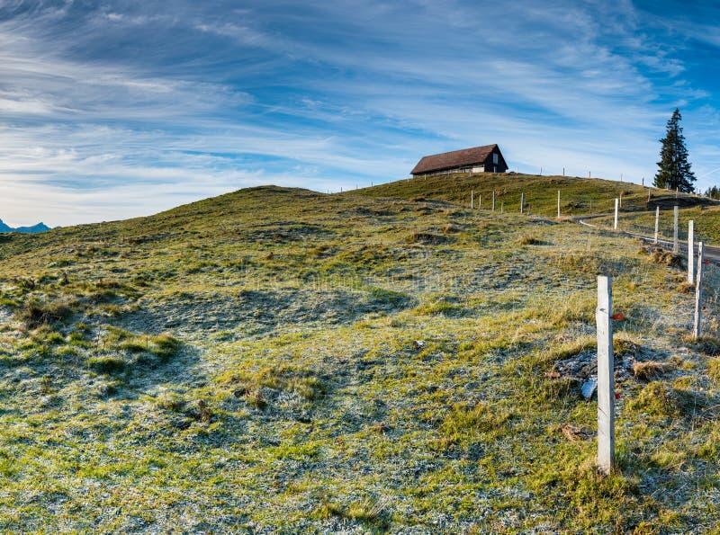 Landcape för öppet land med den gräs- ängen och rimfrost och is och gammalt trästaket i mitt under en expansiv himmel och ett trä arkivfoto