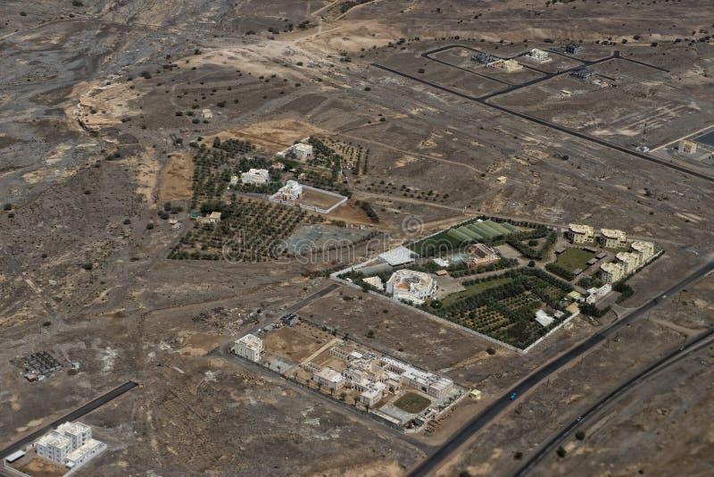Landcape för flyg- sikt för Muscat arabisk stad arkivfoton