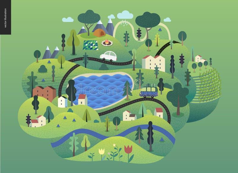 Landcape mágico do verão ilustração do vetor