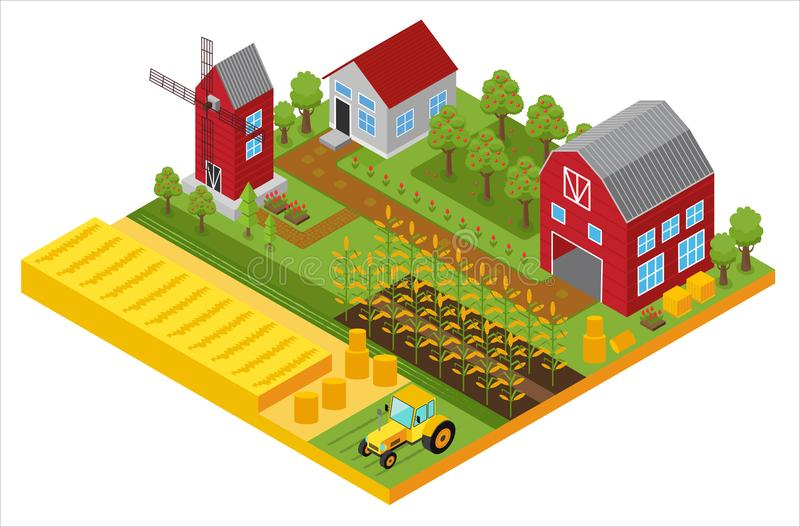 Landelijk 3d landbouwbedrijf isometrisch malplaatje met molen, tuin, bomen, landbouwvoertuigen, van het landbouwershuis en van de royalty-vrije illustratie