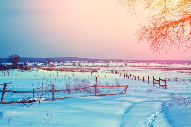 Landelijk de winter sneeuwlandschap Sneeuw behandelde weg op het gebied royalty-vrije stock foto's