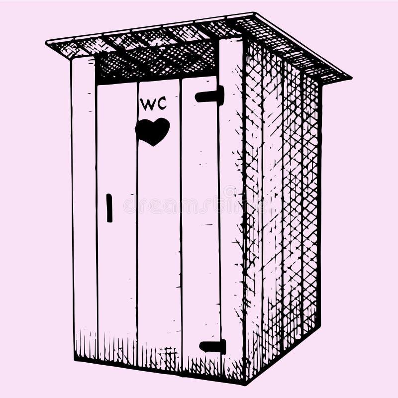 Landelijk houten in openlucht toilet stock illustratie