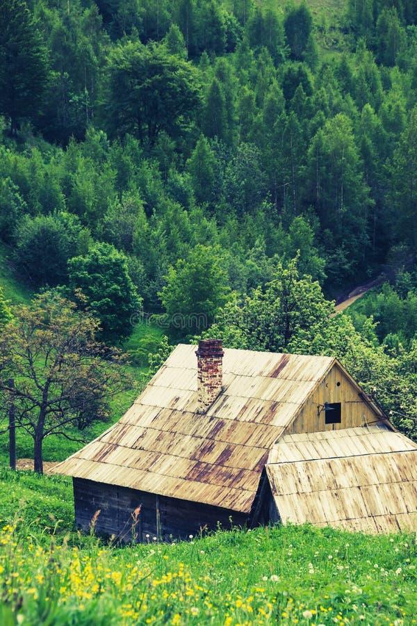 Landelijk huis in hout stock fotografie