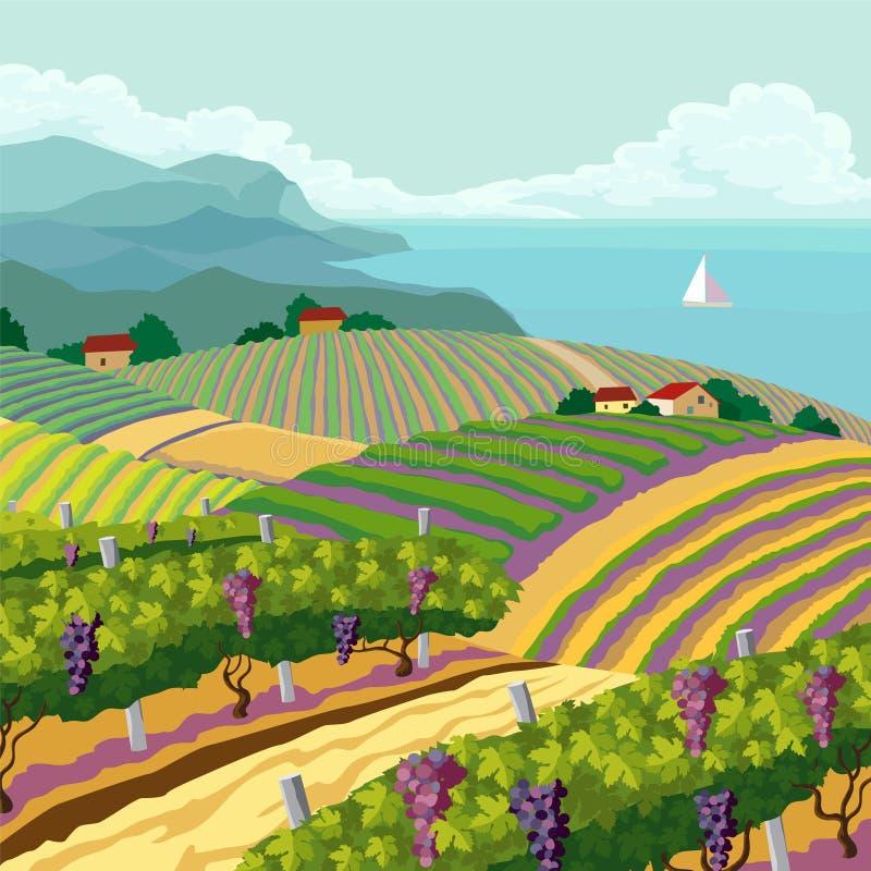 Landelijk landschap stock illustratie