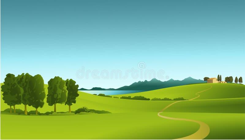 Landelijk landschap royalty-vrije illustratie