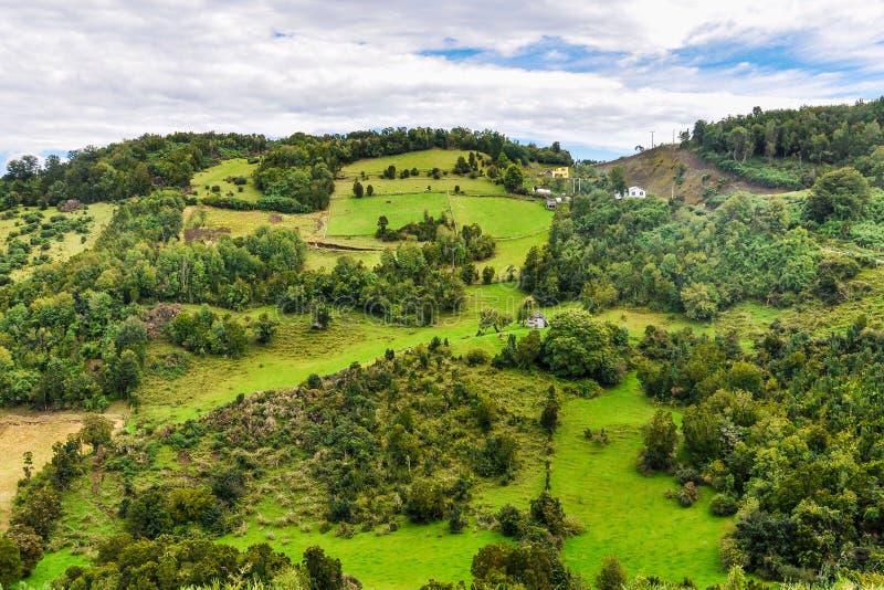 Landelijk landschap, Chiloe-Eiland, Chili royalty-vrije stock foto