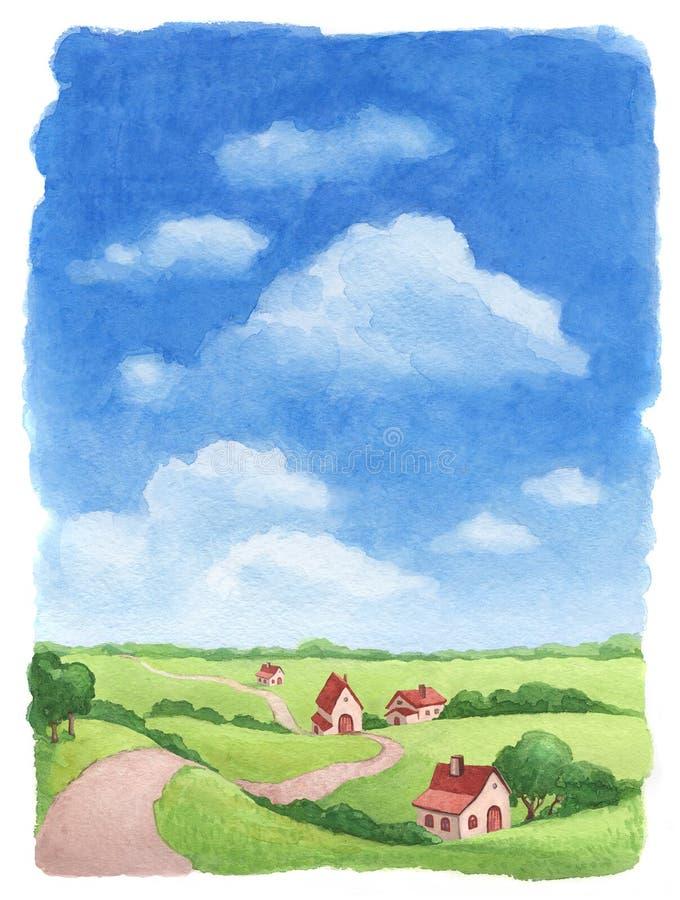 Het landelijke landschap van de waterverf stock illustratie
