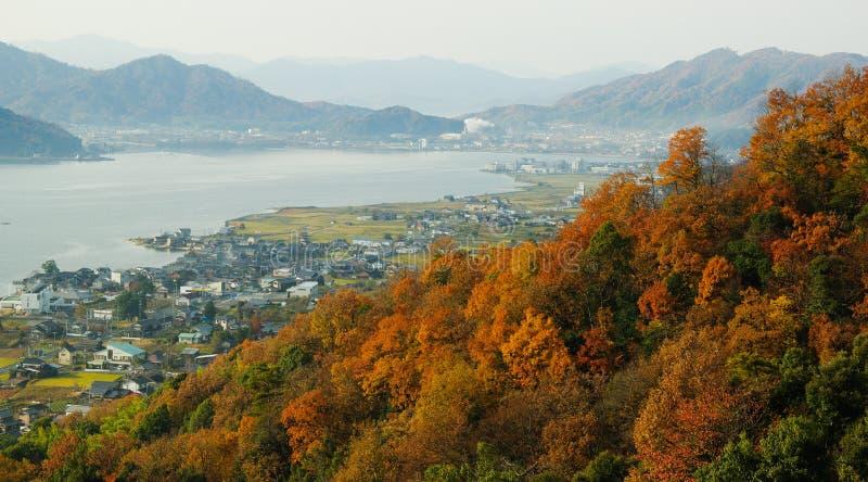 Landelijk landschap dichtbij Amanohashidate, in noordelijk Kyoto, Japan stock foto