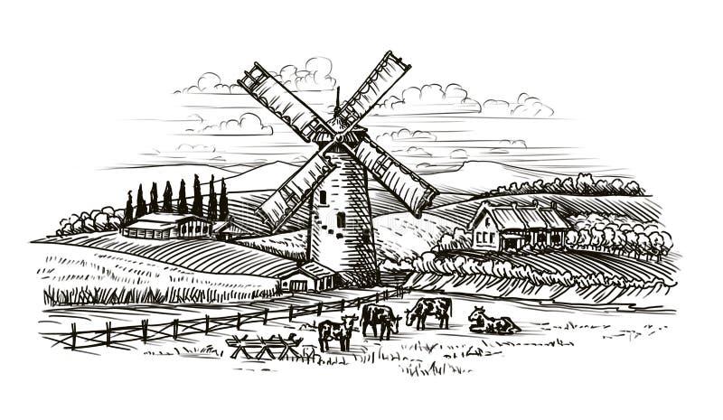 Landelijk landschap, dorpsschets Landbouw, de landbouwwijnoogst royalty-vrije illustratie