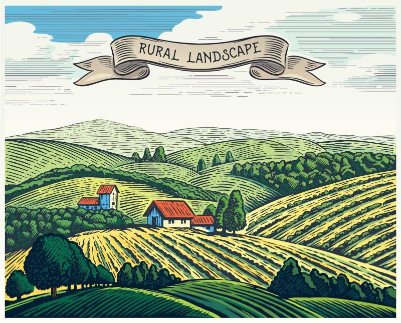 Landelijk landschap in grafische stijl royalty-vrije illustratie