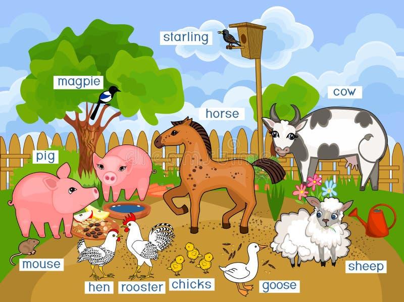 Landelijk landschap met de verschillende dieren van het beeldverhaallandbouwbedrijf met titels stock illustratie