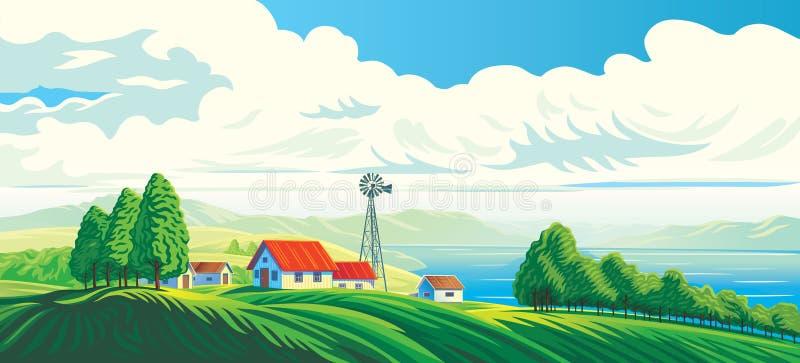 Landelijk landschap met dorp royalty-vrije illustratie