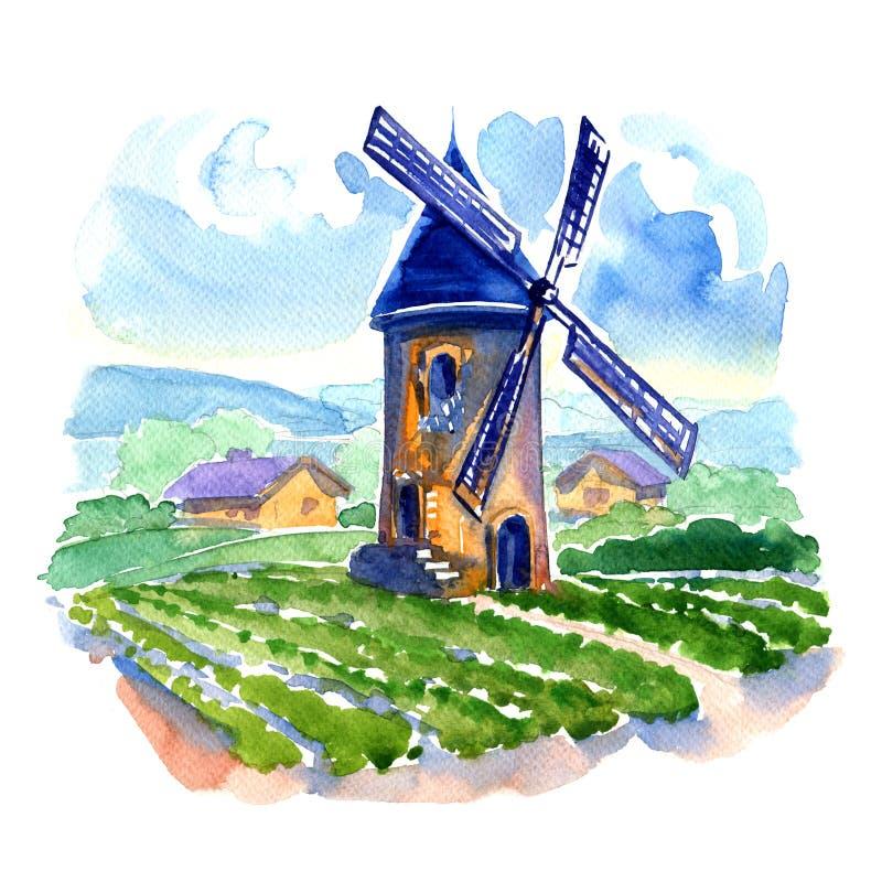 Landelijk landschap met gebieden en een molen vector illustratie