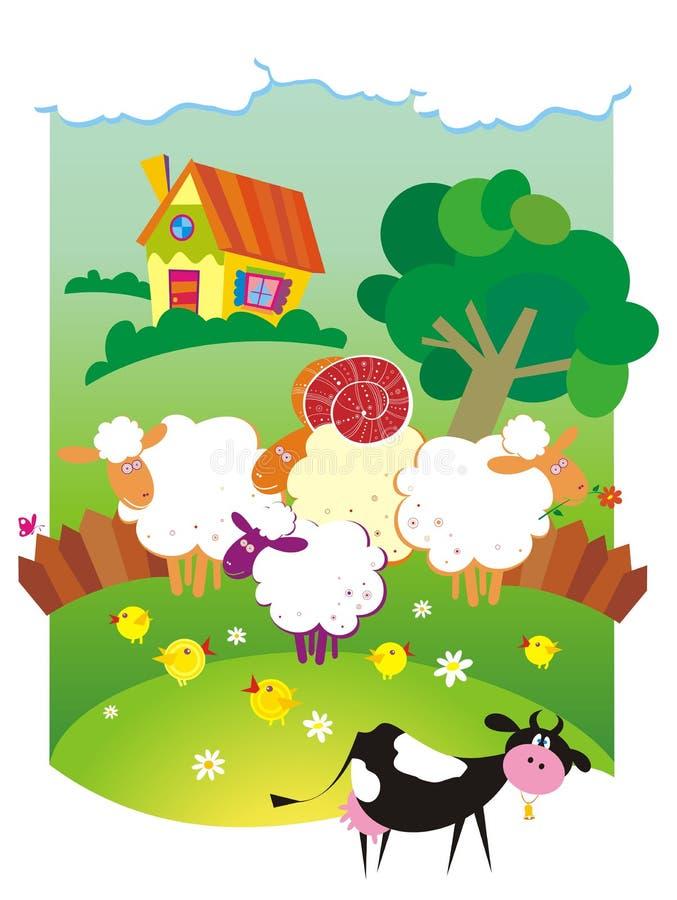 Landelijk landschap met landbouwbedrijfdieren. vector illustratie