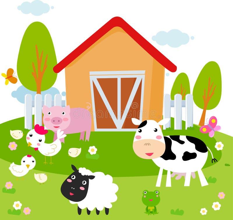 Landelijk landschap met landbouwbedrijfdieren. stock illustratie