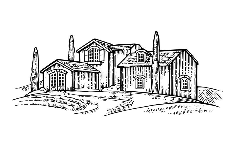 Landelijk landschap met villa, gebied, boom en landbouwbedrijf royalty-vrije illustratie