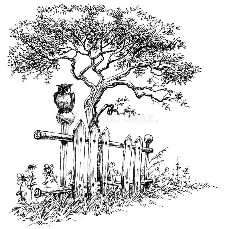 Landelijk landschapsbehang vector illustratie