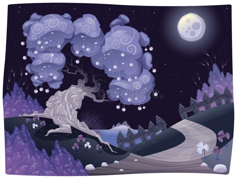 Landelijk nightly landschap op het overzees. stock illustratie