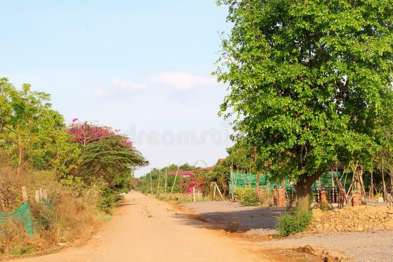 Landelijk ongeplaveid wegplatteland, Kambodja royalty-vrije stock afbeelding
