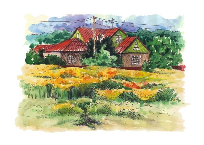 Landelijk waterverflandschap met oude boerderij stock illustratie