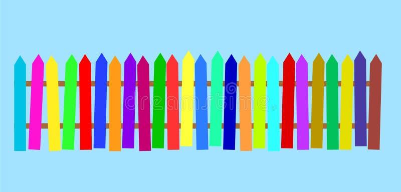 Landelijke houten kleurrijke omheining De VectorIllustratie van de voorraad royalty-vrije illustratie