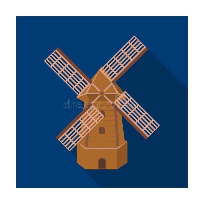 Landelijke houten molen Molen voor het malen van korrel in bloem Landbouwbedrijf en het tuinieren enig pictogram in de vlakke voo stock illustratie