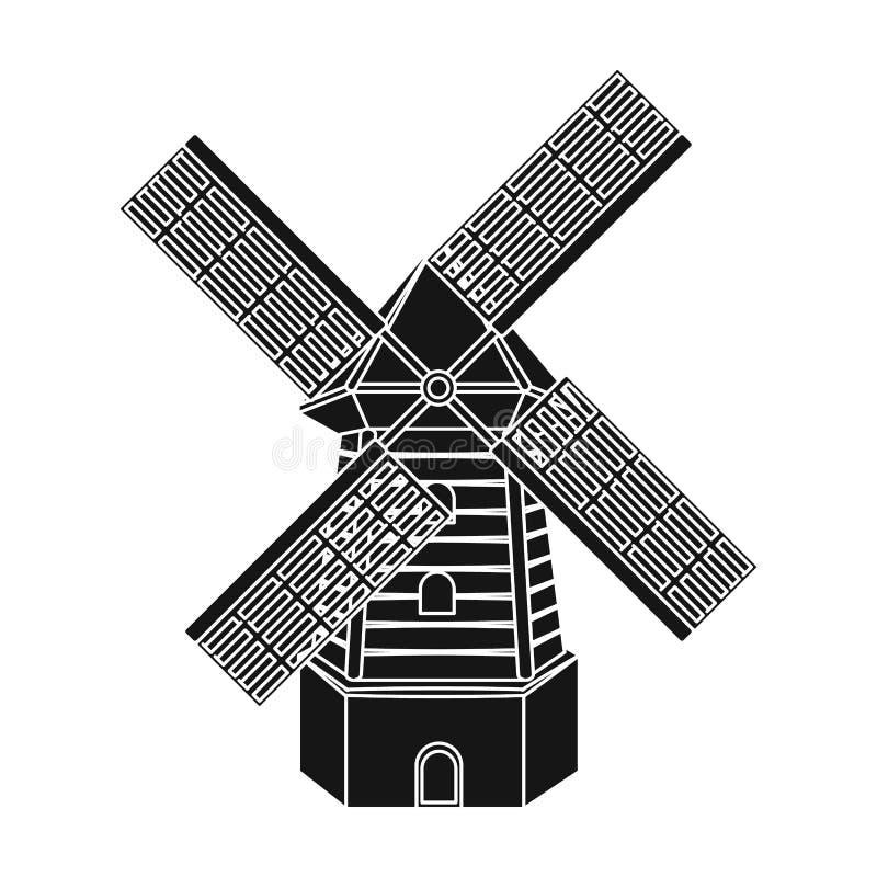 Landelijke houten molen Molen voor het malen van korrel in bloem Landbouwbedrijf en het tuinieren enig pictogram in de zwarte voo vector illustratie