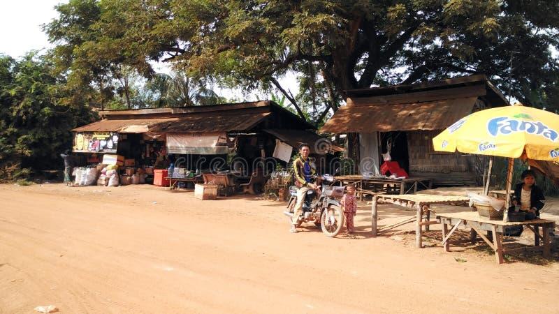 Landelijke huizen in Kambodja Dichtbij Siem oogst royalty-vrije stock afbeeldingen