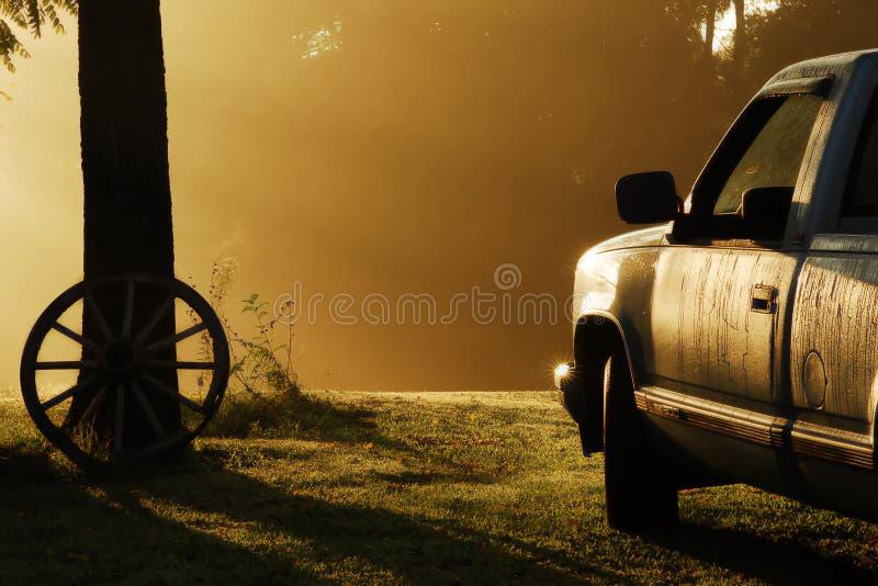 Landelijke mistige ochtend stock afbeeldingen
