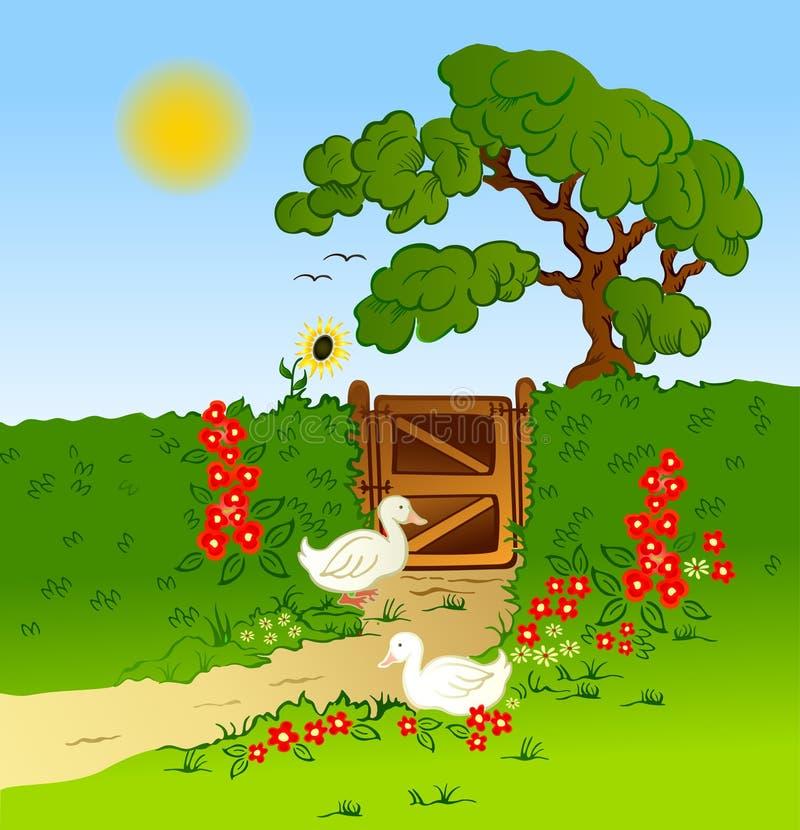 Landelijke omheining, bloemen en landbouwbedrijfganzen. Vector royalty-vrije illustratie